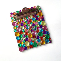 Rhinestone Mini Clipboard Magnet, Clipboard Magnet, Post It Note Holder, Altered Clipboard, Clipboard, Magnet, Office Supplies, OOAK