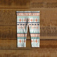 Tribal Baby Leggings, Toddler Leggings, Mint, Coral, Girl