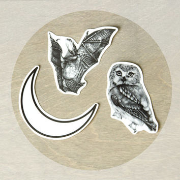 Temporary Tattoos Nocturne Collection (Includes 3 Tattoos) Bat, Owl, Moon Tattoos