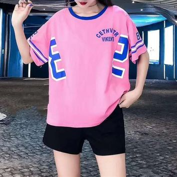 Woman's Leisure  Fashion Letter Printing  Spell Color  Short  Sleeve Shorts Two-Piece Set Casual Wear