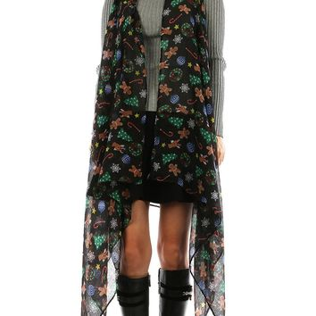 Black Christmas Print Sheer Coverup Poncho