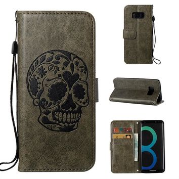 Skull Pattern PU Leather Wallet Flip Magnetic Case
