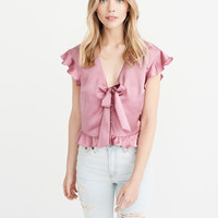 Womens Satin Tie-Front Top | Womens New Arrivals | Abercrombie.com