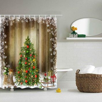 Merry Christmas Waterproof Shower Curtain Bath Decoration