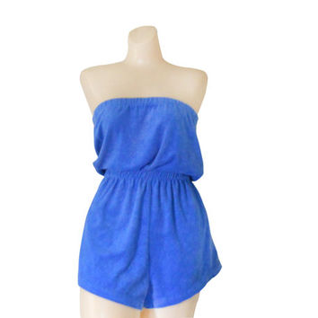 Terry Cloth Cover Up Periwinkle Women Romper Shorts Bathing Suit Cover Up Swimsuit Coverup Swimming Suit Cover Play Suit Beach Clothing