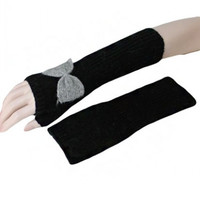 Bow Knit Long Mittens- Black