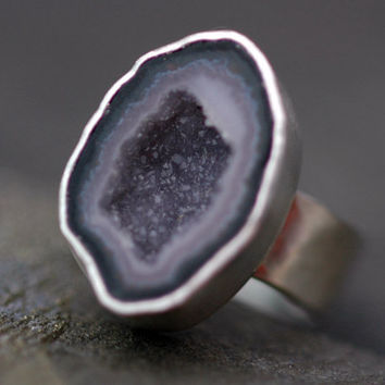 Mini Geode Ring on Hammered Sterling Silver Band by Specimental