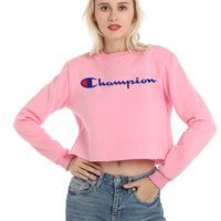 Champion Autumn And Winter New Fashion Bust Embroidery Letter Long Sleeve Short Sweater Top Women Pink