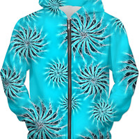 Azure blue hoodie, silver spinning stars asymetric pattern, trippy style hooded sweat