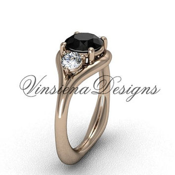 Unique 14kt rose gold Three stone engagement ring, Black Diamond VD8112