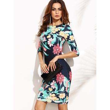 Multicolor Calico Print Elbow Sleeve Bodycon Dress