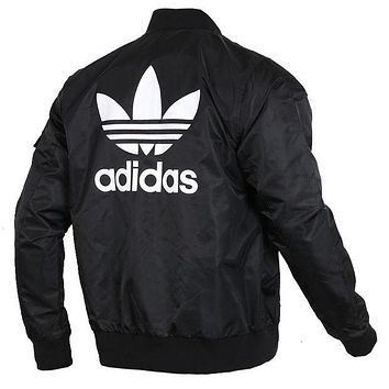 Adidas Originals Women Men Reversible Zipper Cardigan Jacket Coat Windbreaker I/A