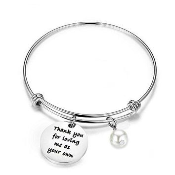 Zuo Bao Stepmother Gifts Stepmom Bracelet Thank You for Loving Me As Your Own Adjustable Charm Bracelet Mother In law Gift
