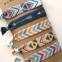 Aztec Elastic Hair ties - Chevron Hair ties - Elastic Hair ties - Arrow Hair tie - Boho Hair Ties - Aztec Hair Ties - Yoga Hair Tie