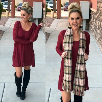 Bare the Cold Sweater Dress: Burgundy