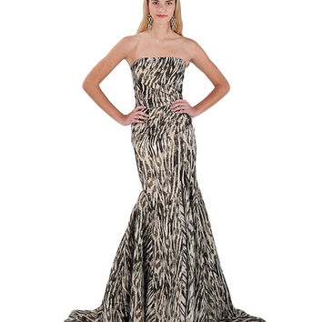 EG1159 Strapless Metallic Print Gown by Badgley Mischka
