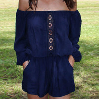 Blue Slash Collar Cut Out Romper