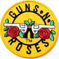 Guns N Roses Round Yellow Iron On Patch