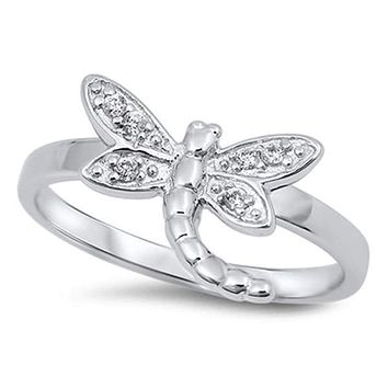 Sterling Silver Cute Dragonfly Cubic Zirconia Ring