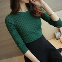 Solid  O-Neck Women's Knitted Sweater