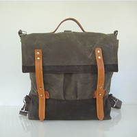 Waxed Canvas Rucksack / Backpack / Messenger Bag / Shoulder Bag Water Resistant Multiple Pockets Large Stone Brown Unisex