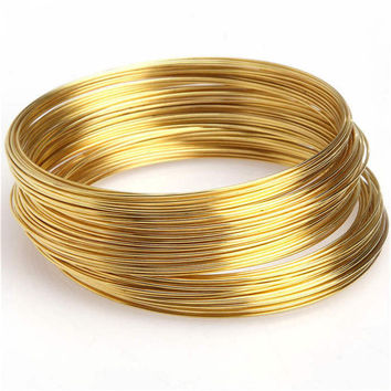 100 Loops Round Memory Steel Wire Cuff Bangle Bracelets