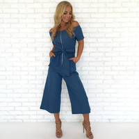 Under My Spell Capri Denim Jumpsuit