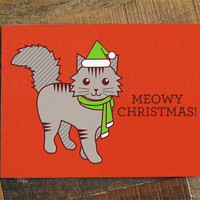 "Cute Christmas Card ""Meowy Christmas"" - Funny Christmas Pun Card, Cat Lover Christmas, Cat Holiday Card, Cat Christmas card, Cute cat card"