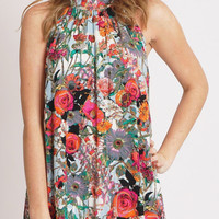 Floral Crinkle Rayon High Neck Sundress