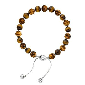 Gucci Bamboo Tiger's Eye Bead Bracelet in Sterling Silver