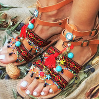 Women Handmade Ancient Greek Leather Sandals/Ladies Summer Flat Shoes/Beaded Gladiator Spartan Flip Flops/Boho Hippie Indy Ethnic African