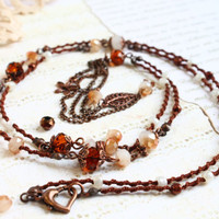 Long Necklace / Beaded Necklace / Statement Boho Necklace / Brown Hand Knit Necklace / Crystal Beads Necklace/Chain Necklace