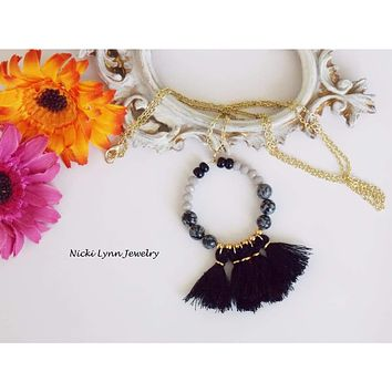 Black and Gray Gemstone and Tassel Necklace
