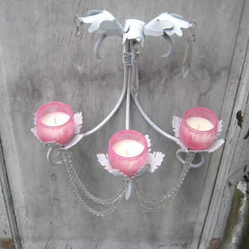 White wall hanging candle chandelier, pink holders, cystals, shabby lighting