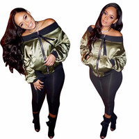 2018 new autumn Off Shoulder Satin Bomber Jacket Coat Sateen Long Sleeve Loose Zipper Casual Short Sexy Pilot jacket