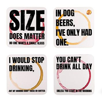 Ultimate Novelty Coasters Set By Hopping Barbaleacute | 4 x Witty amp Sassy 35quot x 35quot Hardboard Coasters For Drinks amp Glasses | Stronger amp Thicker Reusable Beer Mats With Funny Quotes | Perfect Gift Idea