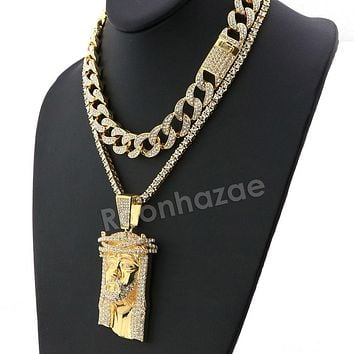 Hip Hop Iced Out Quavo Jesus Face Miami Cuban Choker Tennis Chain Necklace L36