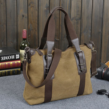 hight quality casual canvas leather bag gift