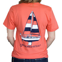 Sailboat Tee Shirt by Anchored Style - Coral