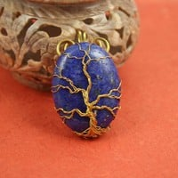 Lapis lazuli blue Tree of Life gold-plated wire-wrapped pendant, Yggdrasil, World Tree pendant
