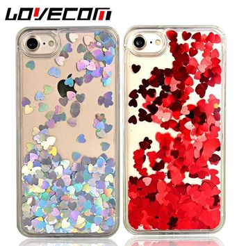 luxury Love Heart Dynamic Liquid Quicksand Sequins Phone Case For iPhone 5 5S SE 6 6S 7 7 Plus Soft TPU Frame Back Cover