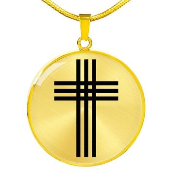 Stylized Cross - 18k Gold Finished Luxury Necklace