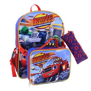 Blaze and the Monster Machines Backpack, Lunch Bag & Pencil Case Set - Kids (Blue/Red)