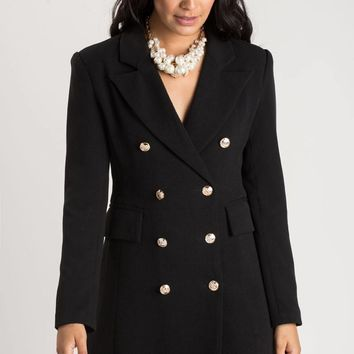 Kira Black Double Breasted Coat Dress