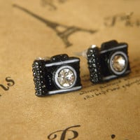 cute crystal black camera earrings jewelry