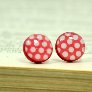 Red Polka Dots Earrings, Red Post Earrings, Polka Dots Stud Earrings, Polymer Clay Earrings, Resin Jewelry