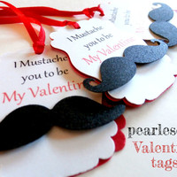 I Mustache You to Be My Valentine - Valentines Day Favor Tags - Set of 12 - Valentines Day Tags