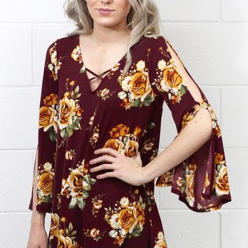 Strappy Floral + Open Sleeves Blouse {Maroon}