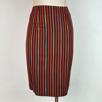4 Vintage Bob Mackie Collection II Pencil Skirt Stipes Black Red Rainbow Linen Fully Lined A Line Designer Vintage Vertical Stripe Pattern