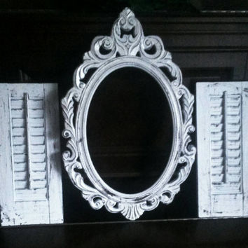 Shabby Chic Shutters and baroque frame set. Old world style. French cottage. Cottage chic. Distressed.